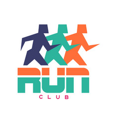 Run club logo colorful emblem with abstract vector