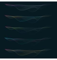 Set of colorful smoke waves vector