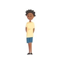Shy black young boy in t-shirt and shortspart of vector