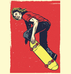 skater act on the skateboard in hand drawing style vector image vector image