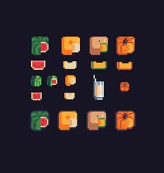 watermelon melon and pumpkin square shaped vector image vector image