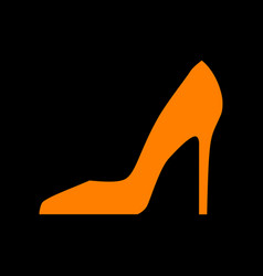 Woman shoe sign orange icon on black background vector