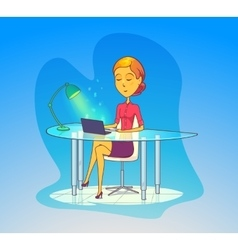 Woman working at office secretary with notebook vector image