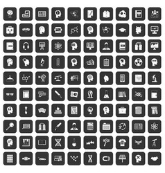 100 knowledge icons set black vector