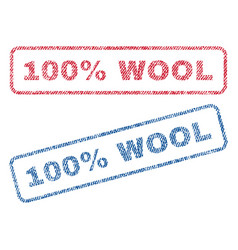 100 percent wool textile stamps vector