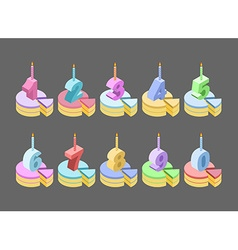 Candles birthday cake number isometrics piece of vector image