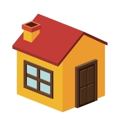 Isometric house with chimney design vector