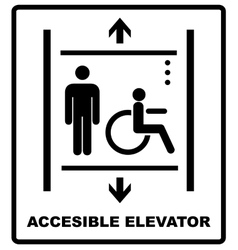Lift for disabled icon sign vector