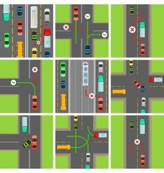 Set of situations on road traffic laws govern vector