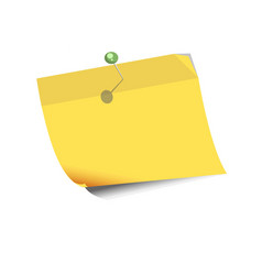 yellow paper for noting with pin isolated on white vector image