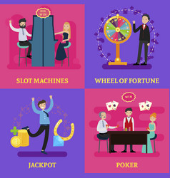 People in casino square concept vector