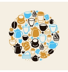 Concept with coffee and tea icons vector