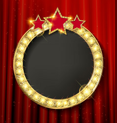 Empty golden painting round frame vector