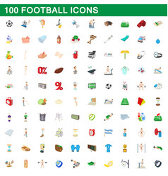 100 football icons set cartoon style vector image