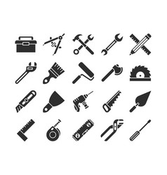 Construction and engineering tools silhouette vector
