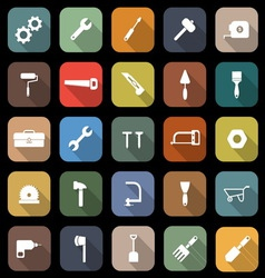 Tool flat icons with long shadow vector