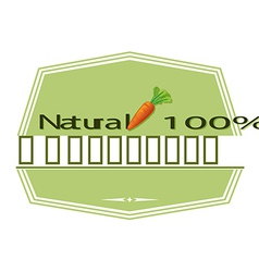 A natural label with a carrot vector