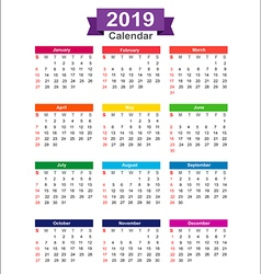 2019 year calendar isolated on white background vector