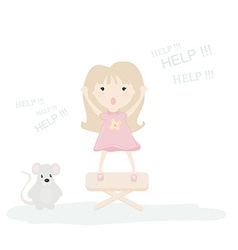 A little girl scared by a mouse vector