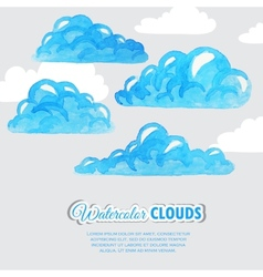 Set of watercolor clouds weather icons vector