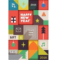 Retro vintage new year poster vector