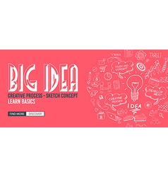 Big idea concept with doodle design style finding vector