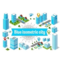 Blue city skyscraper vector