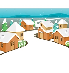Winter houses covered with snow in town vector