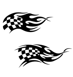 Checkered flag with black flames vector