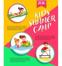 Kids summer camp poster children playing vector