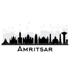 Amritsar city skyline black and white silhouette vector