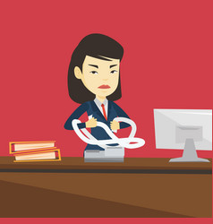 Angry business woman tearing bills or invoices vector