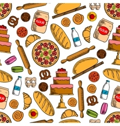 Bakery products with ingredients seamless pattern vector image