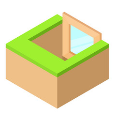 Basement window frame icon isometric 3d style vector