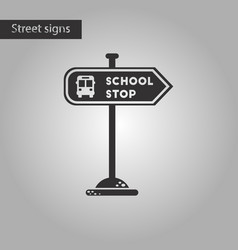 Black and white style icon school stop sign vector
