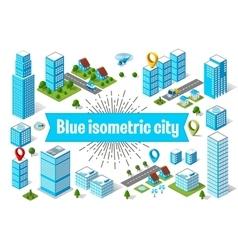 Blue city skyscraper vector image vector image