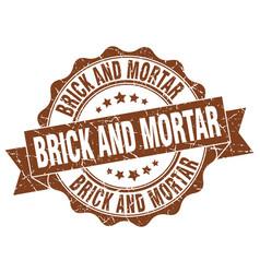 Brick and mortar stamp sign seal vector