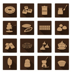 brown chocolate simple flat shadow icons set eps10 vector image vector image