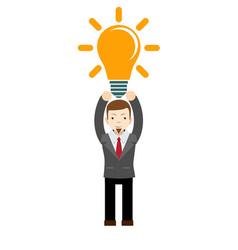 Businessman has a bright idea vector