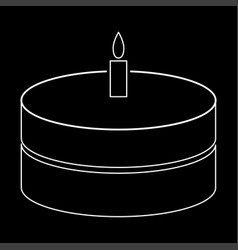 Cake with candle the white path icon vector
