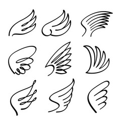 Cartoon angel wings set sketch doodle vector