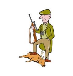 Cartoon hunter with rifle standing on deer vector