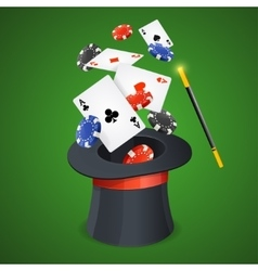 Casino Win Concept Cards and Chips vector image