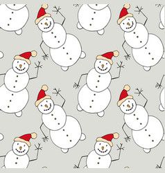Christmas seamless pattern with snowman new year vector