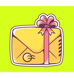 closed yellow envelope with red bow on gr vector image vector image