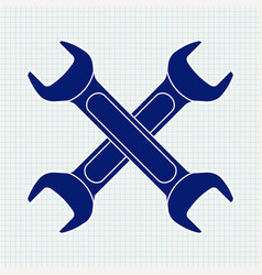 Crossed wrench blue icon vector
