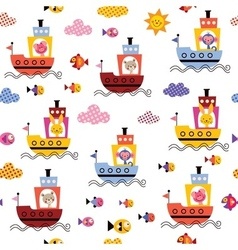 Cute animals in boats kids seamless pattern vector