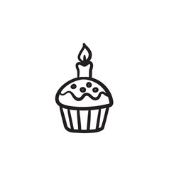 Easter cupcake with candle sketch icon vector