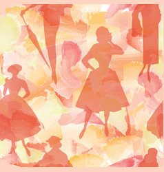 fashion women background lady retro dress vector image