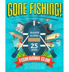 Fishing poster with date of season opening vector